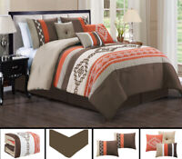 7 Piece Brown Brick Southwest Embroidery Comforter Set Queen/King Size
