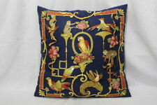 "SALVATORE FERRAGAMO Multi-Color Monkey & Birds Silk Scarf Pillow 16"" x 16""-B115"