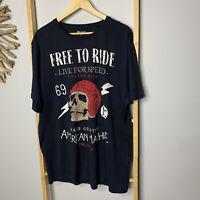 B Collection Size 3XL Men's Motorcycle T-Shirt Tee Skull Print Motorbike Biking