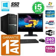 "PC Acer Veriton M4630G MT Ecran 19"" i5-4570 RAM 16Go SSD 240Go DVD Wifi W7"