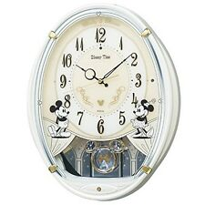 SEIKO wall clock Mickey Mouse Minnie radio analog 6melody White Pearl EMS Japan