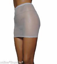 MINI SKIRT Sexy WHITE NET Mesh See Through Stretch Club LINGERIE Dance Party S27