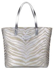 NEW MICHAEL KORS ANIMAL PRINT TOTE SILVER BEIGE WOMENS ZEBRA HAND BAG