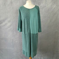 GUDRUN SJODEN green floral striped cotton mix jersey dress pockets womens Large