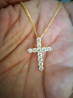 1Ct Round Cut Diamond Cross Pendant 14K Yellow Gold FN Jewelry Gift
