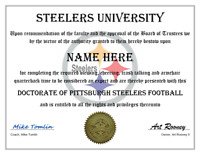 PITTSBURGH STEELERS PERSONALIZED FAN DIPLOMA, GREAT GIFT