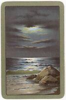 Playing Cards 1 Single Card Old SEASIDE COASTLINE Moonlit Night Art Painting 1