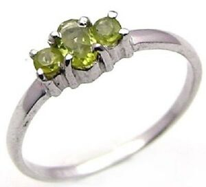 Mesmerizing 0.65ctw Genuine Peridot Stamped 925 Sterling Silver Ring. Size 7