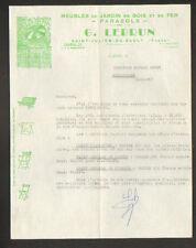 """SAINT-JULIEN-du-SAULT (89) MEUBLES de JARDIN Bois Fers PARASOLS """"G. LEBRUN"""" 1957"""