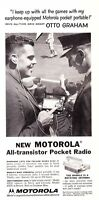 1957 Otto Graham photo Motorola Transistor Radio promo print ad