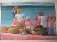 Michael Hallinan Bahamas Harbor Ap Lithograph Print W/ Frame, Signed By Artist