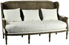 "SALE 67"" W sofa hand carved wood frame down cushions woven wing"