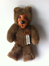 "Vtg Original Robert Raikes Bears 13"" Brown Plush Wood Face Paw Toy Applause CA"