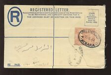 1953 REGISTERED STATIONERY ENVELOPE...KHARTOUM + ATBARA OVALS