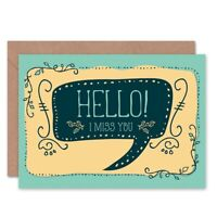 Friend Friendship Miss You Speech Bubble Blank Greeting Card With Envelope
