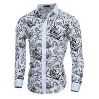 Fashion Men's Floral Casual Shirt Long Sleeve Slim Fit Dress Shirt Blouse Luxury