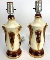 "Vintage MCM Ceramic Lamps Pair Nightstand Side Table 12.5"" Gold Cream Painted EC"