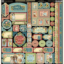 Graphic45 PENNY'S PAPER DOLL FAMILY 12x12 Sticker Sheet scrapbooking