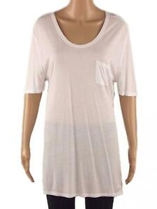 New EX FRENCH CONNECTION UK Size 8 10 XS Ladies White Short Sleeve Jersey Top