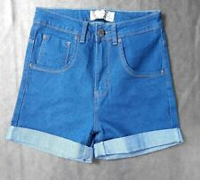 New Boohoo High Waisted blue denim Shorts -zip fastening size 8