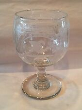 Antique Engraved Large Glass Goblet Cock Fighting English American Blown Pontil