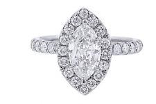 18K Gold Marquise Diamond Halo Ring 0.69TDW (Center Stone Sold Separately) -IGI-