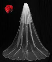 NEW SPARKLING 2 TIER  LONG VEIL, IN WHITE, OR LIGHT IVORY WITH COMB