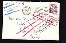Gb 1965 Cover Bath to France - Returned to sender cachet - back stamped