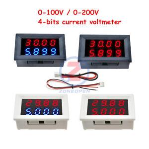 DC 0-100V/200V 10A Digital Voltmeter Ammeter Volt Amp Meter 4 Bits Dual LED