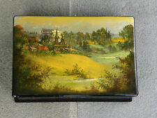 Fedoskino Lacquer Box Landscape Church Village Buildings with Modern High Rise