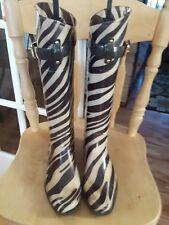 RALPH LAUREN tall rubber boots wellies brown zebra stripe buckle accent size 7