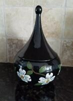 Black Ceramic Lidded Candy Dish with White Floral Pattern