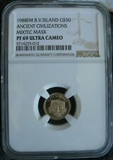 British Virgin Islands 1988 FM Gold $50 Dollars NGC PF-69 Ult.Cameo MIXTEC MASK