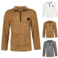 Mens Fleece Thick Warm Zip High Neck Sweatshirts Sweater Winter Tops Jumper Coat
