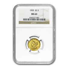 $2.50 Liberty Gold Quarter Eagle Coin - Random Year - MS-63 PCGS/NGC - SKU#18493