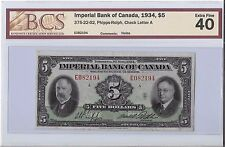 Imperial Bank of Canada 1934, $5 Bill EF40  B35