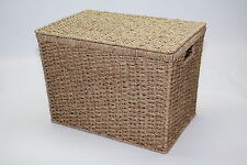 Medium Seagrass Chest Trunk Storage Basket Office Filing Green Bedroom Lid