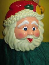 "9"" Santa Hard Plastic Face Wall Door Christmas Decoration Light Up Twinkle Eyes"