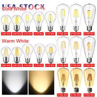 1/4/6 E26 110V Vintage LED Edison Bulb COB Filament Dimmable 4W 6W 8W Lamp Light