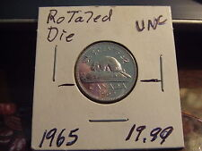 CANADA FIVE CENTS 1965 ROTATED DIE, UNC - BU