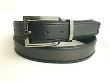 Tumi Carbon Fiber Dress Belt ONE SIZE Gray Black Golf Casual Silver Logo Buckle