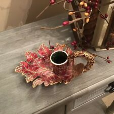 Red Enamel Leaf Shape Candlestick Holder With Accented Gold Wires
