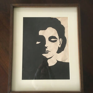 Vtg Mid Century Abstract Black And White Portrait Print 50's Woman Lithograph