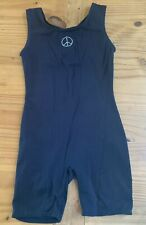 Jacques Moret Girl's Size 8/10 Black Peace Sign Dance Biketard Unitard EUC