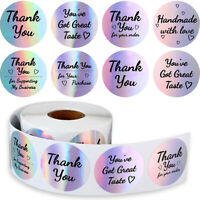 500Pcs/roll Thank You Labels Holographic Rainbow Stickers for  Wrapping Suppl YK