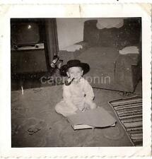 Tobacco Pipe Smoking Little Boy Kid Playing Toy Piano TV Horse 1940s Photo