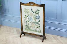 Original Antique 1930's Handmade Tapestry Oak Frame Fire Screen Embroidered