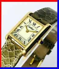 Vintage 70s Cartier tank ladies gold electroplated manual wind serviced movement