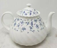 Vintage Wedgwood Windrush Teapot & Lid White Purple Flowers Bone China England