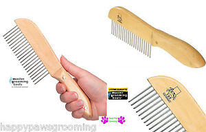 PET MASTER GROOMING TOOLS ULTIMATE Long Teeth COARSE UTILITY COMB Wood Handle